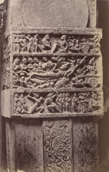 Close view of band of narrative sculpture on a column in the Virupaksha Temple, Pattadakal 10031889